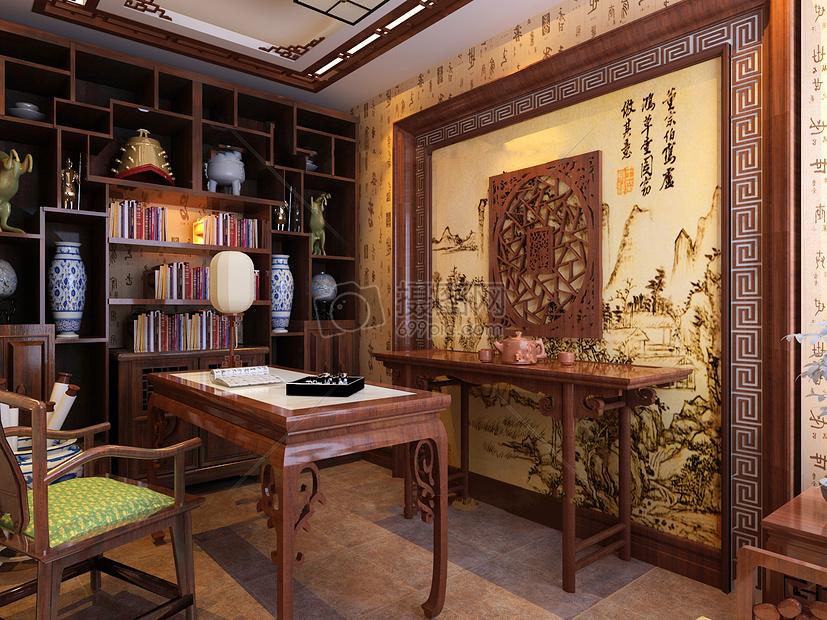 新中式书房效果图摄影图片免费下载_艺术/设计图库