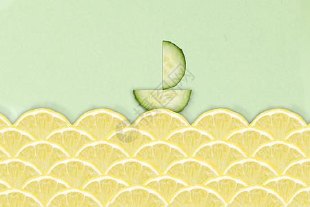 柠檬黄瓜切片帆船图片