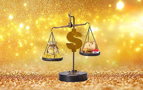 金融商业背景下的金钱天平图片