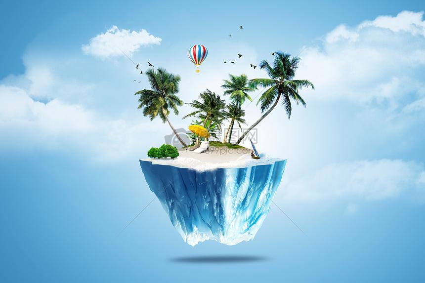 唯美图片 背景素材 夏日风景合成创意图jpg
