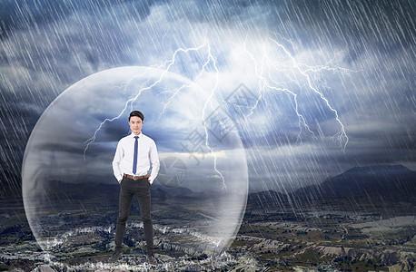 雷雨中的商业男士图片