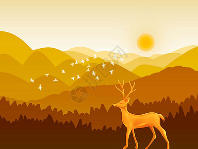看日落的鹿图片