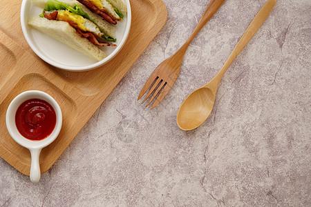 营养早餐三明治图片
