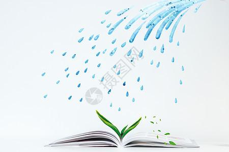 书中生长出的植物图片