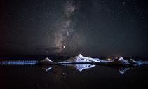 茶卡盐湖的银河图片