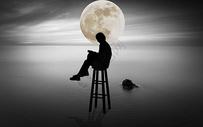 月光下的读书人图片