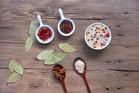 五谷杂粮和调料辣椒 食材背景素材图片