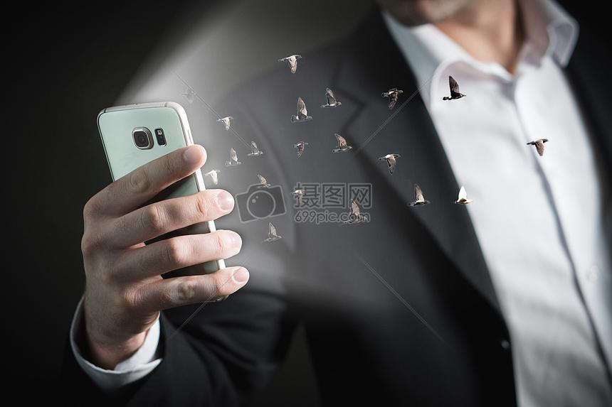 手机里飞出鸟群图片