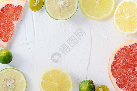 夏日白底柠檬清爽素材图片