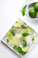 夏日冰块薄荷柠檬清爽素材图片