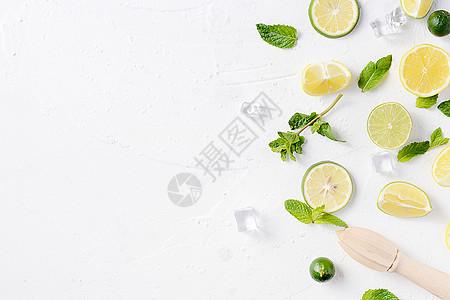夏日白底冰块薄荷柠檬清爽素材图片