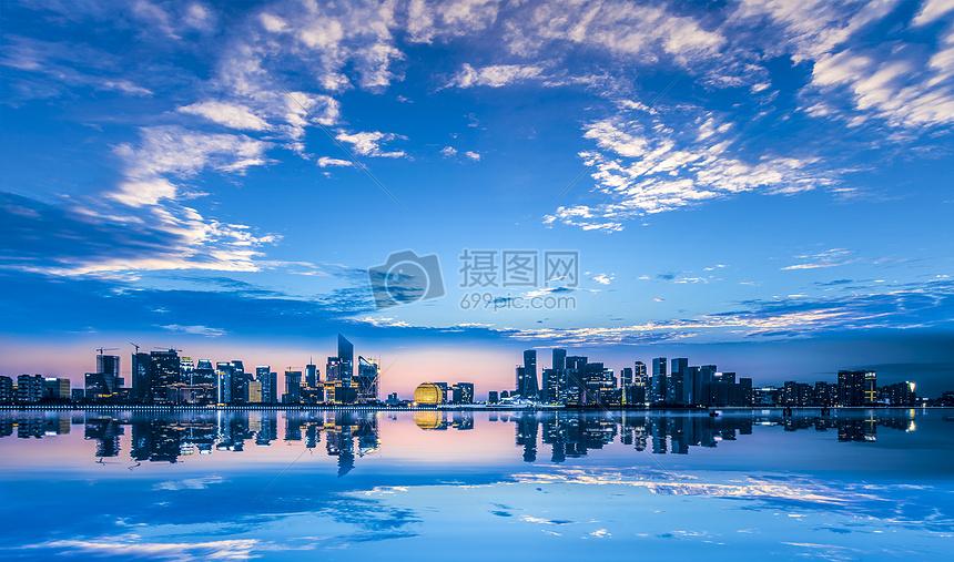钱江新城日出城市美景图片