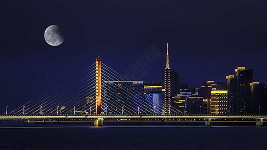 钱江三桥月色图片