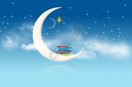 星空云层月亮背景图片
