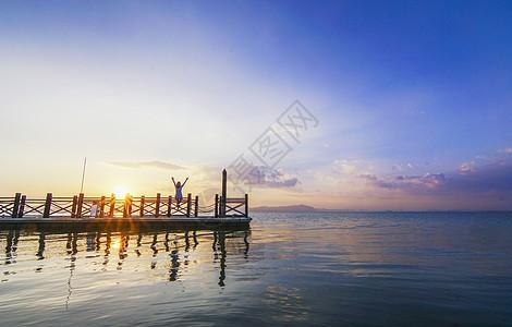 滇池夕阳落日图片