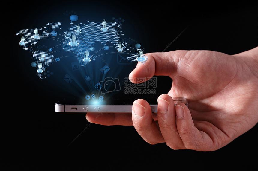 科技炫酷3D立体手机信息技术背景图片