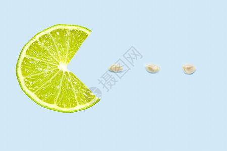 柠檬片吃种子的创意图片图片