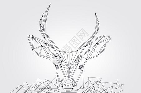 黑白线条麋鹿图片