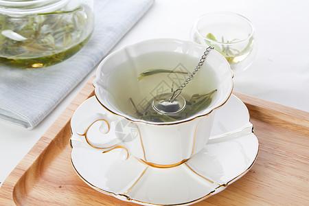 花茶龙井茶泡茶茶叶透明杯子图片