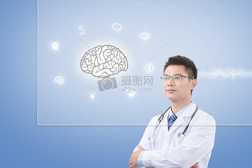 医生看大脑神经图图片