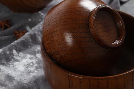 日式木质面碗高质感木碗图片