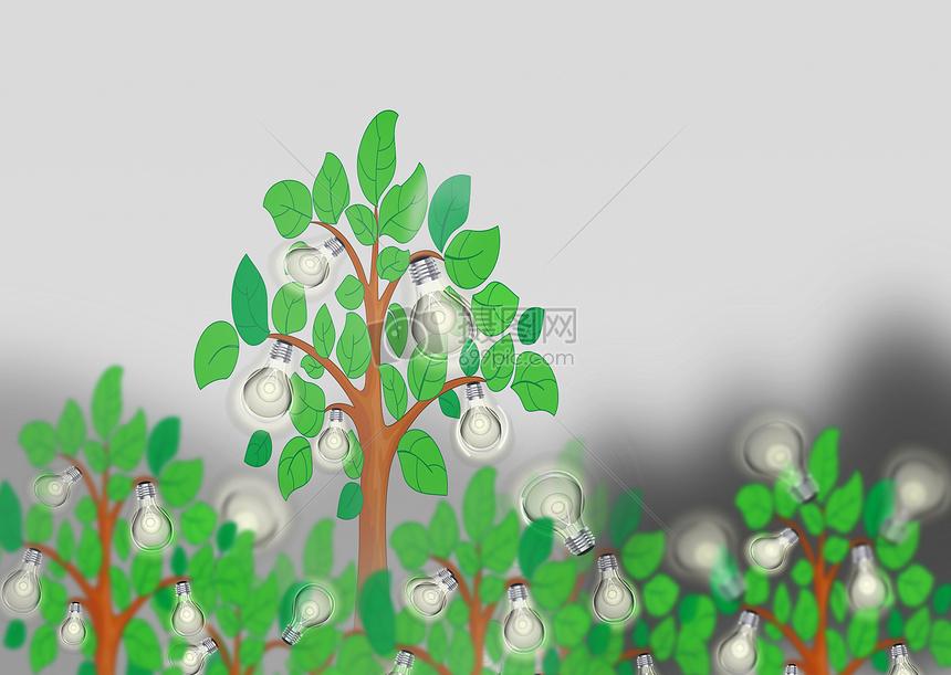 长灯泡的大树图片