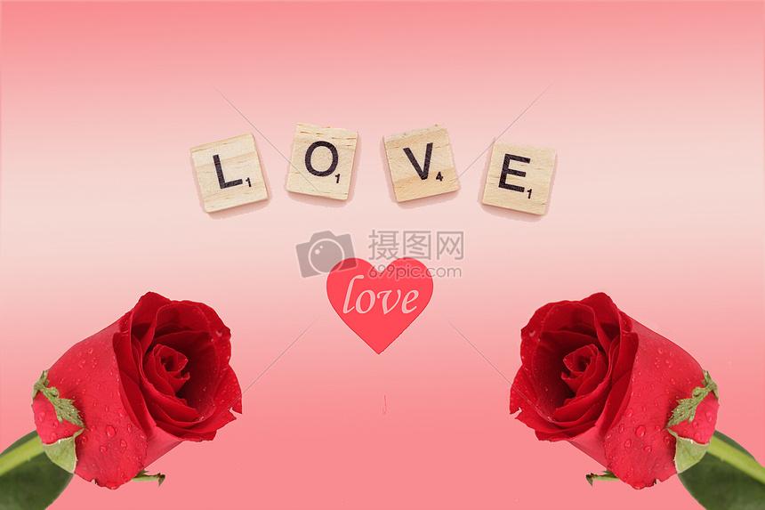 七夕情人节玫瑰花背景图片