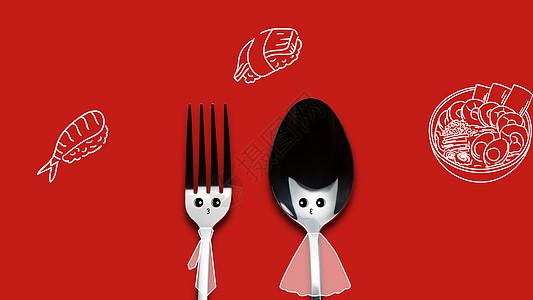 创意合成可爱餐具图片