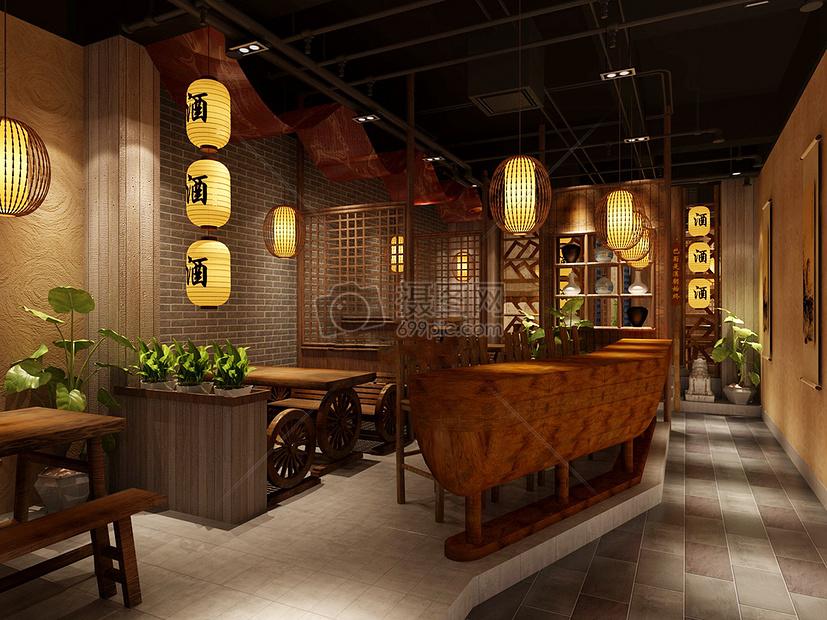 室内效果图新中式装修中式某中式酒馆装修效果图图片某中式酒馆装修