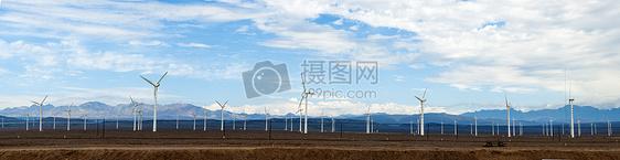 新疆草原风车风力发电资源利用全景图片