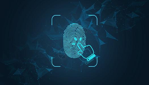 炫酷蓝色指纹解锁科技背景图片