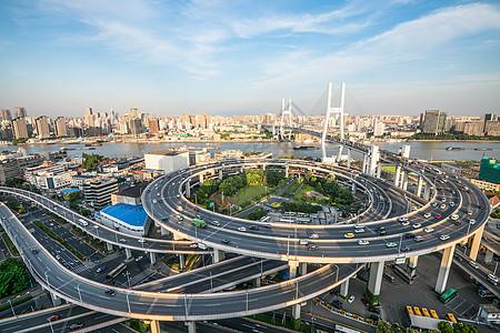 上海城市环形立交桥傍晚-南浦大桥图片