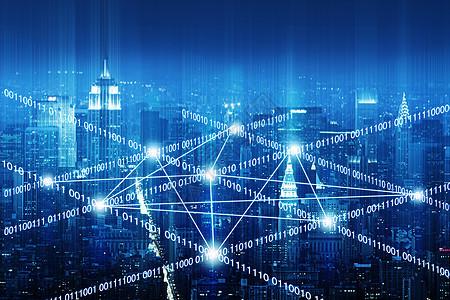 大数据概念的城市背景图片