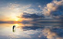 海天一色自然风景图片