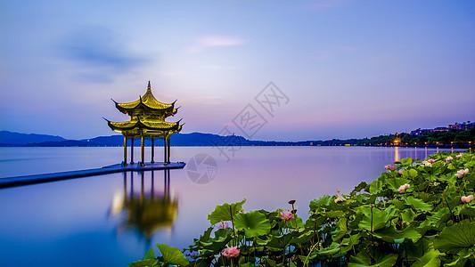 西湖集贤亭与荷花图片