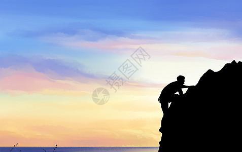 不断攀登的人图片