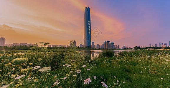 湖北武汉中央商务区晚霞图片