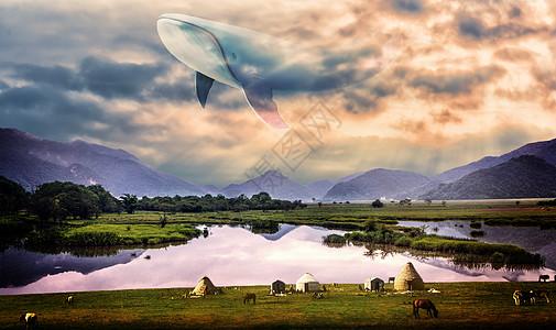 天空云种飞翔的鲸鱼大鱼超现实梦幻壁纸图片