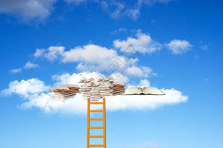 通往云端的书库的梯子图片