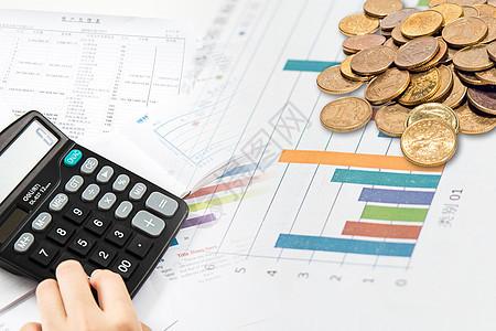 计算器会计报表钱币图片