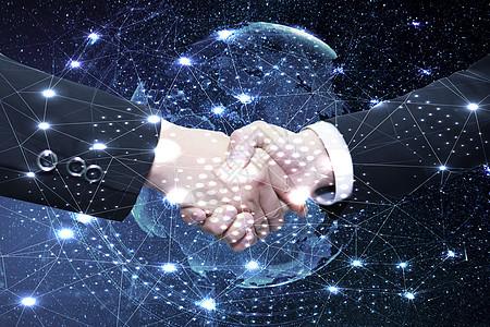 星球前的握手图片