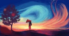 夜晚唯美焰火女孩插画图片