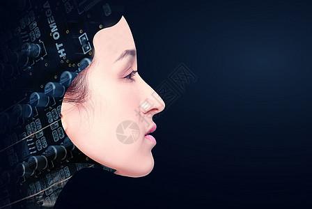 侧面的女性科技图片