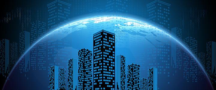 蓝色科技地球城市夜景图片