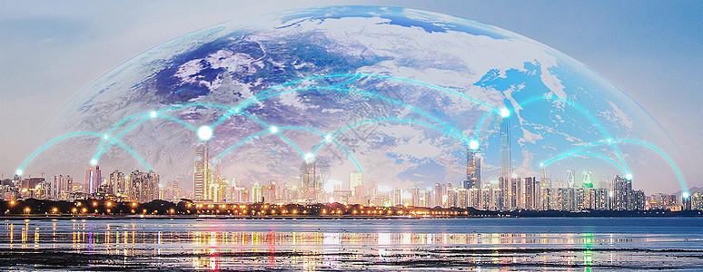 蓝色科技城市图片
