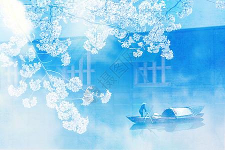 江南水乡水彩背景图片