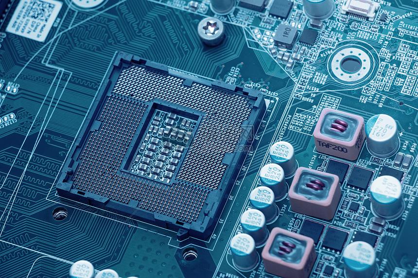 概念互联网芯片电子电路板科技合成地图图片芯片电子电路板科技合成