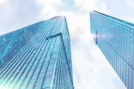 玻璃大楼外的信息光束图片