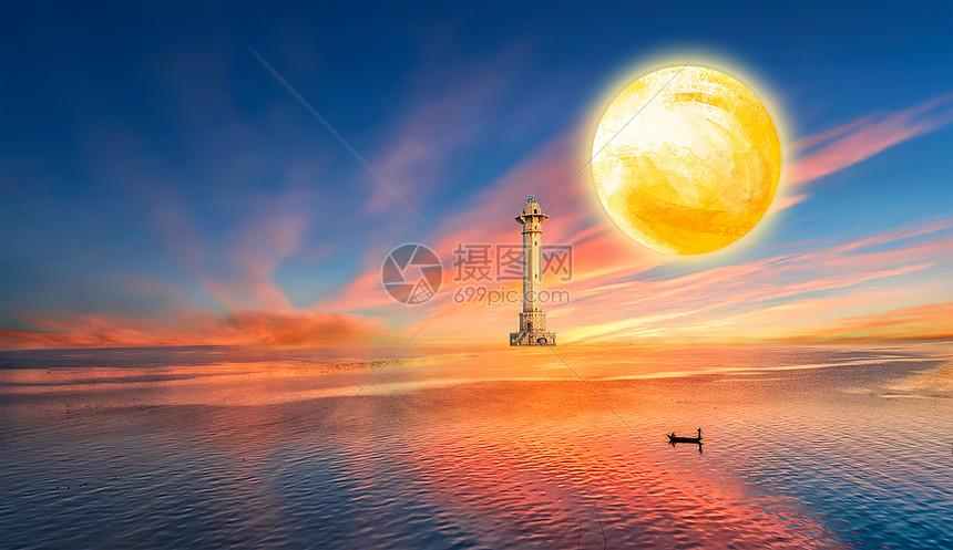 标签: 梦幻朦胧海面深蓝背景灯塔月亮星空夜晚划船的人大海天空星星