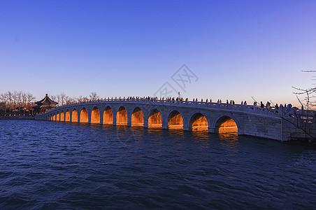 颐和园十七孔桥金光穿孔冬之美景图片